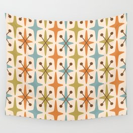 Mid Century Modern Abstract Star Pattern 441 Orange Brown Blue Olive Green Wall Tapestry