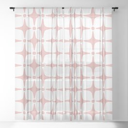 Mid Century Modern Star Pattern Dusty Rose Sheer Curtain