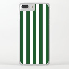 Large Forest Green and White Rustic Vertical Beach Stripes Clear iPhone Case