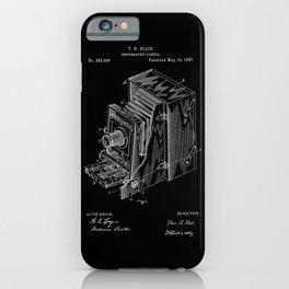 Vintage Camera Patent - White on Black iPhone Case
