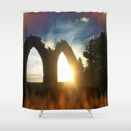 Fire at the tower Shower Curtain