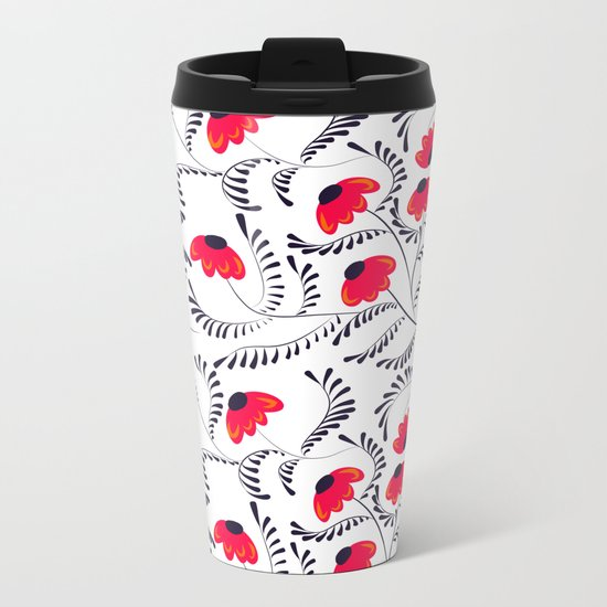 The floral pattern . Red flowers with black leaves . Metal Travel Mug