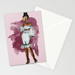 BIRTHDAY SLAY (maroon background with watercolor splash) Stationery Cards