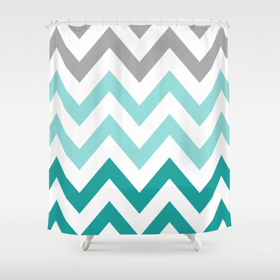 TEAL FADE CHEVRON Shower Curtain By N A T
