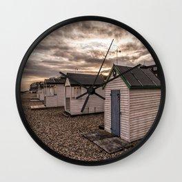 Beach Huts At Sunset Wall Clock