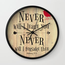 Never Will I Leave You Scripture Wall Clock