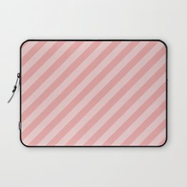 Classic Blush Pink Glossy Candy Cane Stripes Laptop Sleeve