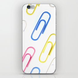 Many Colored Isolated Paper Clips Pattern iPhone Skin