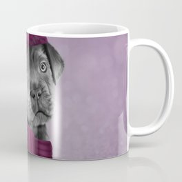 Drawing Puppy Cane Corso in hat and scarf Coffee Mug