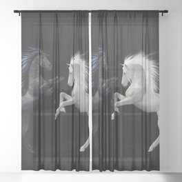 Black White horse Sheer Curtain