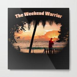 Weekend Warrior Fishing at Early Morning Sunrise Metal Print