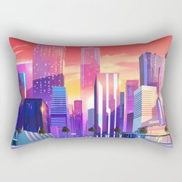 Synthwave Space #19: Neon City (pixelart) Rectangular Pillow