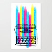 typewriter Canvas Prints featuring Typewriter by Elizabeth Cakovan