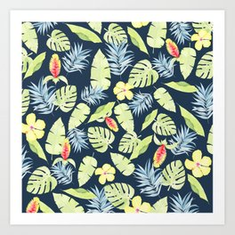 Tropical Leaves with Bromeliad and Hibiscus on Navy Art Print