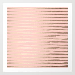 Abstract Stripes Gold Coral Light Pink Art Print