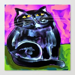 Fat Black Cat Abstract Digital Painting Canvas Print