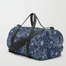 Artistic hand painted navy blue white modern floral Duffle Bag