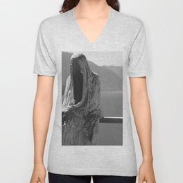 Lake Como, Ghost Sculpture over looking Italian Lake black and white photograph / art photography Unisex V-Neck