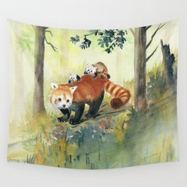 Red Panda Family Wall Tapestry