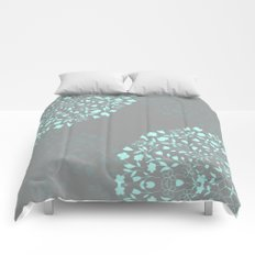 Flower Garden in Mint and Grey Comforters