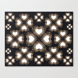 Clover Hearts Black, White, and Rose-Gold Mandala Textile Canvas Print