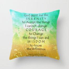Serenity Prayer Green Gold Sunrise Throw Pillow