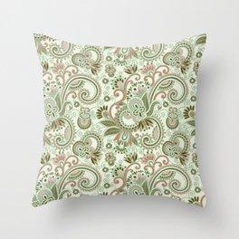 Oriental Persian Paisley, Swirls - Green Pink Throw Pillow