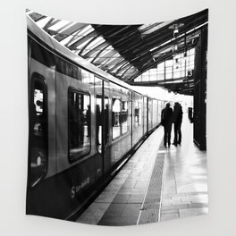 S-Bahn Berlin black and white photo Wall Tapestry