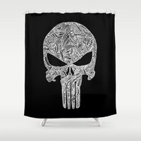 punisher Shower Curtains featuring Punisher  by christoph_loves_drawing