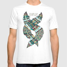 Soulmate Feathers SMALL White Mens Fitted Tee