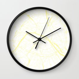 Paris France Minimal Street Map - White on Yellow Wall Clock