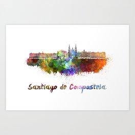 Santiago de Compostela skyline in watercolor Art Print