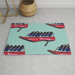 Flying shoes with cellphones for May - shoes stories Rug