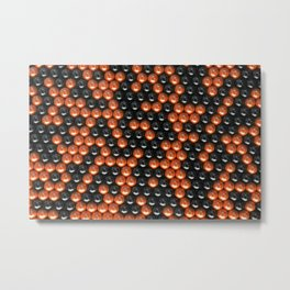 Pattern of black and orange spheres Metal Print