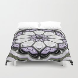 Ultra Violet Silver and Lilac Abstract Floral Pattern Duvet Cover