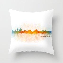 Jerusalem City Skyline Hq v3 Throw Pillow