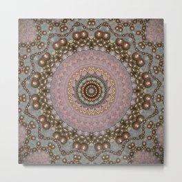 Antique Rose Beaded Mandala Design Metal Print