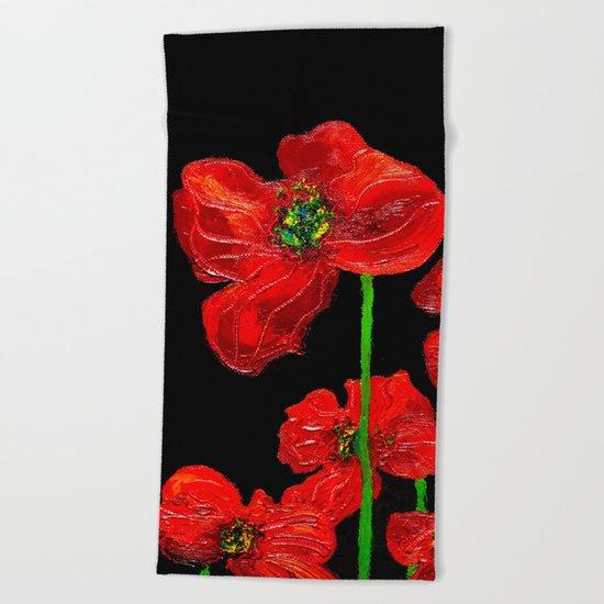 red flowers on black Beach Towel