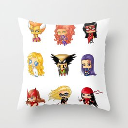 Chibi Heroines Set 3 Throw Pillow