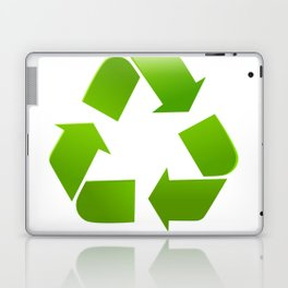 Green Recycle symbol on white background Laptop & iPad Skin