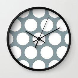 Large Polka Dots: Neutral Blue Wall Clock