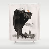 last of us Shower Curtains featuring The Last of Us by Robert Farkas