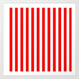 Red and White Candy Cane Vertical - Medium Stripes Art Print