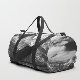 Mountain Summer Escape - Black and White Tetons Duffle Bag