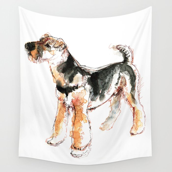 Airedale Terrier Watercolor #2 Wall Tapestry