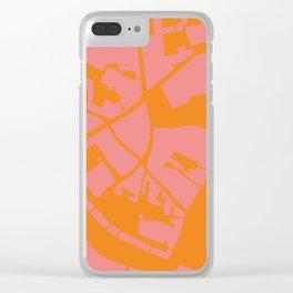 Vilnius map pink orange Clear iPhone Case