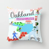 oakland Throw Pillows featuring Oakland by June Chang Studio