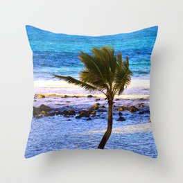Lone Palm Tree In Paradise Throw Pillow