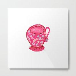 RED FLOWERY CUP Metal Print