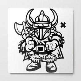 Funny Viking Cartoon Metal Print